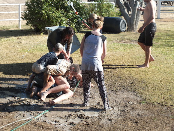 4;5Mud fight out the front of the big house the other weekend-Myself and Stacey won copy