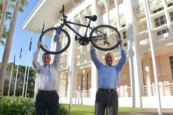Photo 1. Hon Willem Westra van Holthe, Hon John Elferink,with Barry the Bike copy