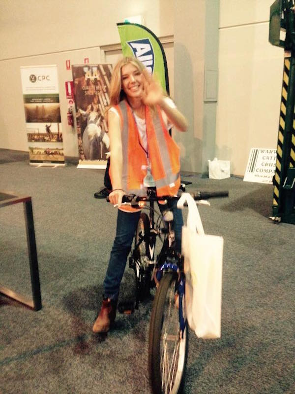 Photo 3. Barry the Bike was ridden around the NTCA Conference to promote awareness of MindSpot.org copy